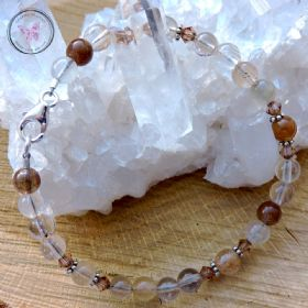 Rutilated Quartz Bracelet with Swarovski Crystals